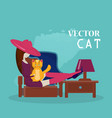 girl and cat flat style vector image