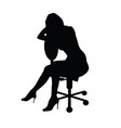 girl silhouette figure sitting on chair vector image vector image
