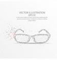 glasses low poly wire frame on white background vector image vector image