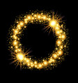 gold glow glitter circle frame with stars on black vector image vector image