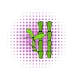 Green bamboo stem icon comics style vector image vector image