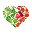 heart shape of red fruits and vector image