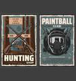 hunting sport shotguns paintball guns and mask vector image