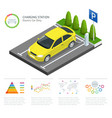 infographics and green electric car charging point vector image vector image