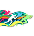 marathon runner sprinter winner silhouettes vector image