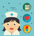 nurse with medical healthcare icons vector image
