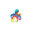 paper cut octopus shape 3d origami vector image vector image