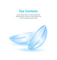 realistic detailed 3d contact lenses concept card vector image vector image