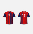 red and blue stripe pattern sport football kits vector image vector image