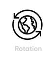 rotation globe planet editable line vector image