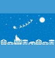 santa flying in a sleigh through night sky vector image