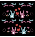 Seamless background with love hares and hearts vector image vector image