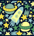 seamless pattern with stars rocket planet in the vector image