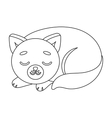 Sleeping cat icon in outline style isolated on