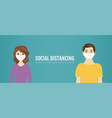 social distance banner with man and woman vector image vector image