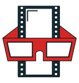 tape film with glasses 3d vector image