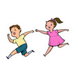 the boy and girl running together vector image