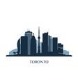 toronto skyline monochrome silhouette vector image vector image
