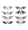 Wings logotype set Bird wing or winged logo design vector image vector image