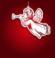 angel flies and plays the trumpet decoration vector image