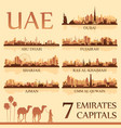 all the capital cities of the united arab emirates vector image vector image