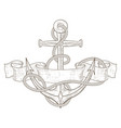 anchor with ribbon banner and rope hand drawn vector image vector image