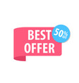 best offer label isolated on white red color vector image vector image