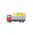 big red truck takes away square garbage signs vector image vector image
