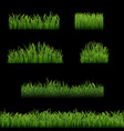 big set green grass borders black background vector image