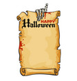 bony hand of skeleton holds old paper scroll text vector image