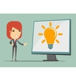 Business woman showing the stand with idea vector image vector image