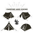 camping and hiking tent types in outline design vector image