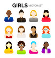 cartoon girls and women icons vector image