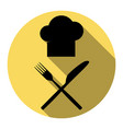 chef with knife and fork sign flat black vector image