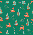 christmas holidays trees reindeer pattern vector image vector image