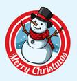 christmas snowman badge design vector image vector image