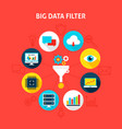 concept big data filter vector image