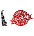 crowd composition of mosaic map of delaware state vector image