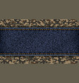 denim tag or label on a military camouflage vector image vector image