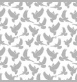 dove grey silhouettes on white seamless pattern vector image