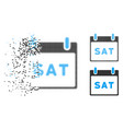 dust dotted halftone saturday calendar page icon vector image vector image
