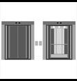 elevator cabin with open and closed doors vector image