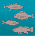 fish icons set outline vector image vector image