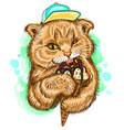 ginger cat eats ice cream cartoon wall stickers vector image vector image