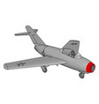 grey jet plane with three stars and red nose on vector image