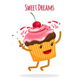 happy cupcake charcter card vector image vector image