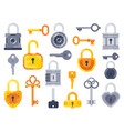 lock with keys golden key access padlock and vector image