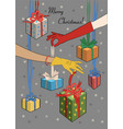 merry christmas two female hands with gifts vector image