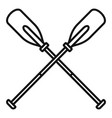 metal crossed oars icon outline style vector image vector image