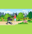 mother with her bain stroller walking outdoor vector image